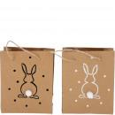 Paper bag Fried, 2 motifs, W12cm, H15cm, natural